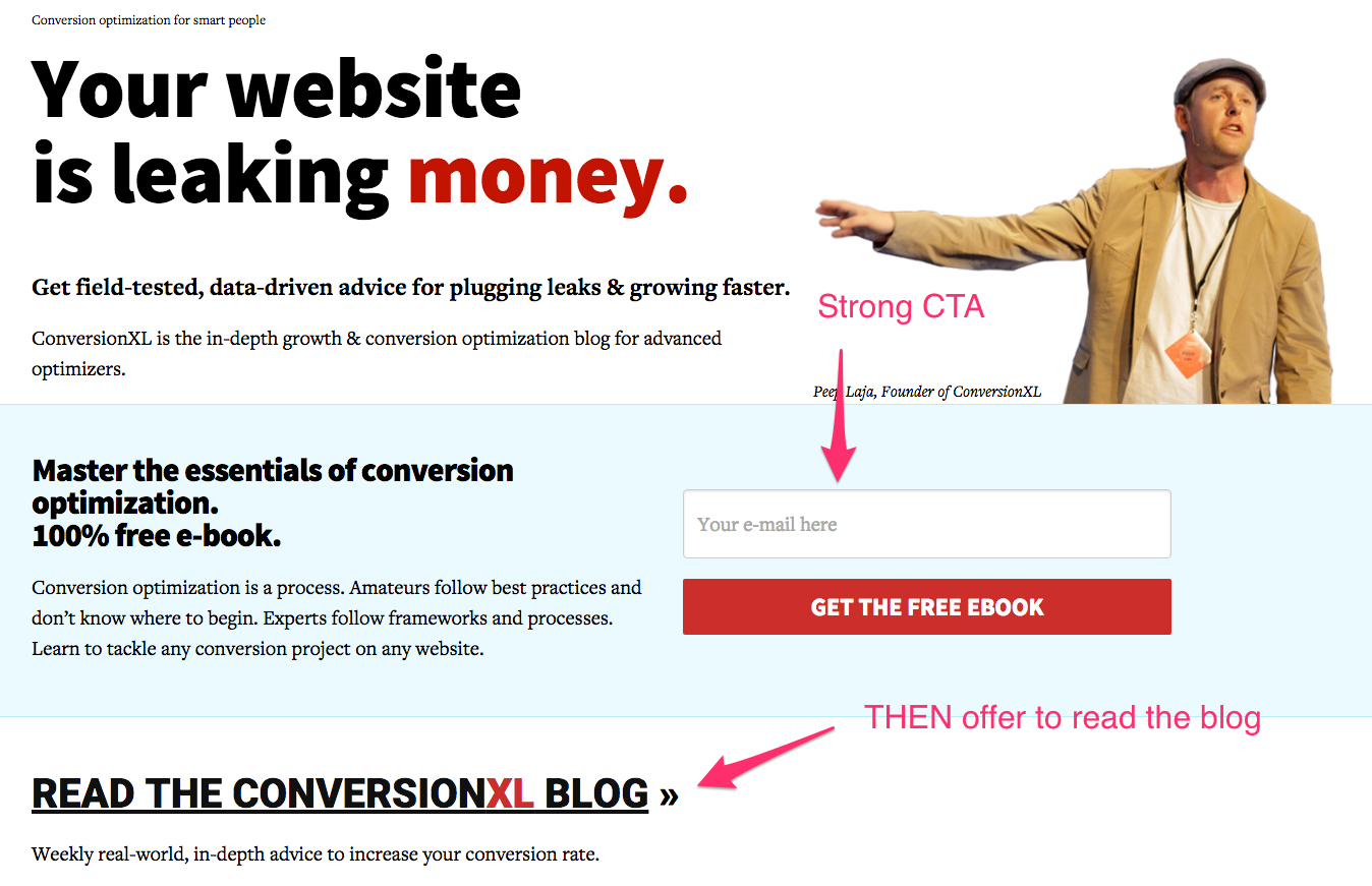 conversion optimize your blog's homepage
