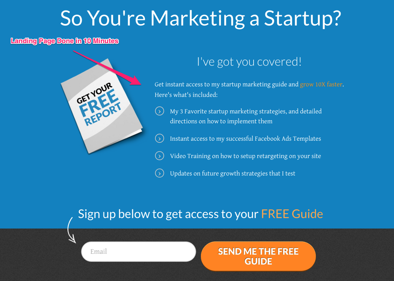 10 minute landing page