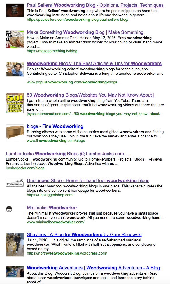 Blog search engine for woodworking